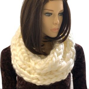 Accessories - Chunky Knit Cream Coloured Infinity Scarf Handmade